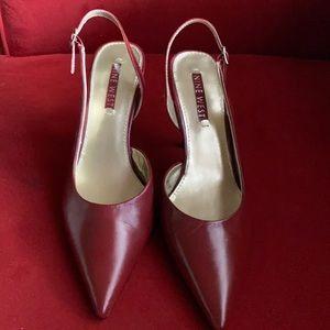 Nine West sling back burgundy red stilettos 8.5